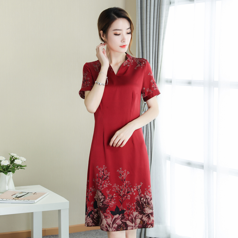 Plus Size 2018 New Summer Women dress Mother In Hangzhou Noble Silk Dresses Red 8973