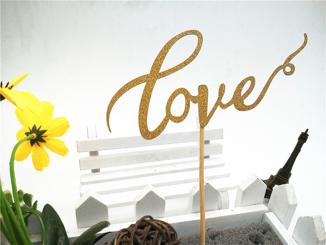 Gold Glitter Paper Love Cake Toppers Personalized Wedding Accessories Decorations Party Kit Lovely Baby Shower Supplies