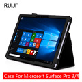 Leather Case для Microsoft Surface Pro 3 Cover Case для Поверхностного Pro 4 Оригинал Смарт Стенд Бизнес Luxury Brand