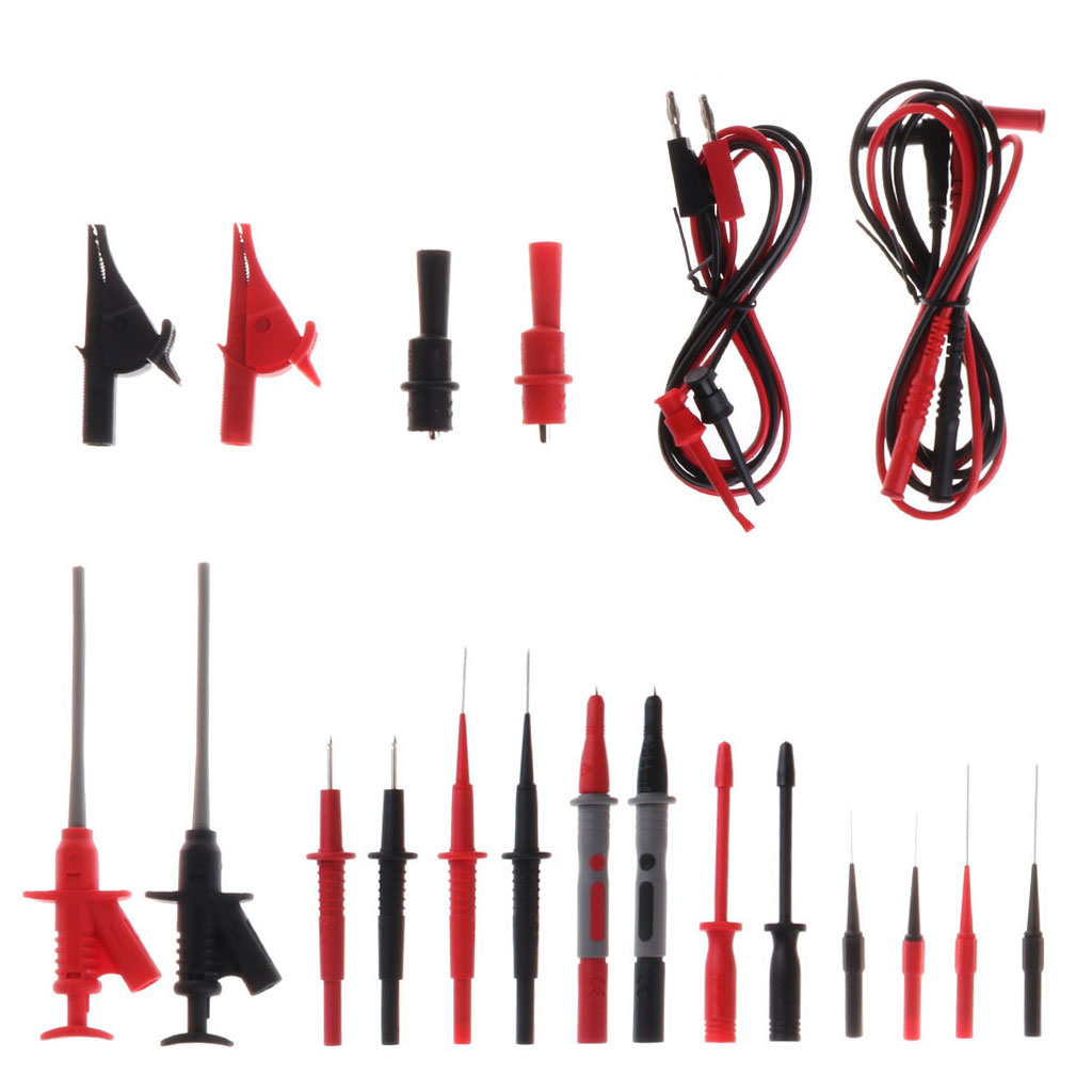 Very Durable 22pcs Multimeter Car Test Accessory Set 4mm Lead Cable Alligator Clips Probe Kit