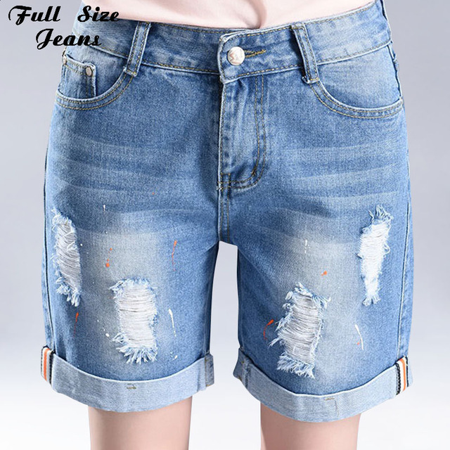 3315438b431 Boyfriend Plus Size Loose Casual Ripped Painting Short Jeans Cuffed  Oversized Distressed Denim Shorts 3XL 4XL