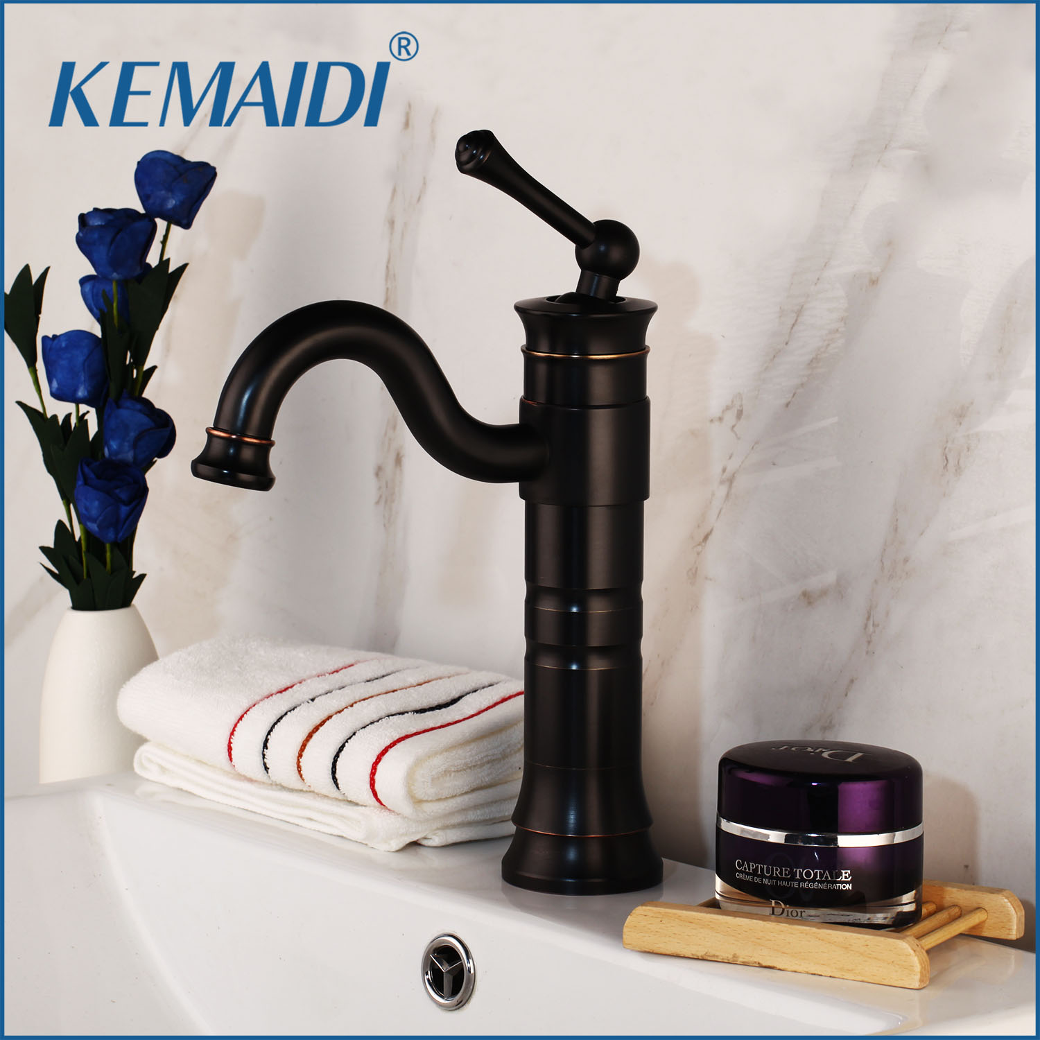 KEMAIDI Wholesale And Retail Basin Faucet Retro Black Bathroom Single Handle Water Tap Deck Mounted Kitchen Vessel Sink Faucets