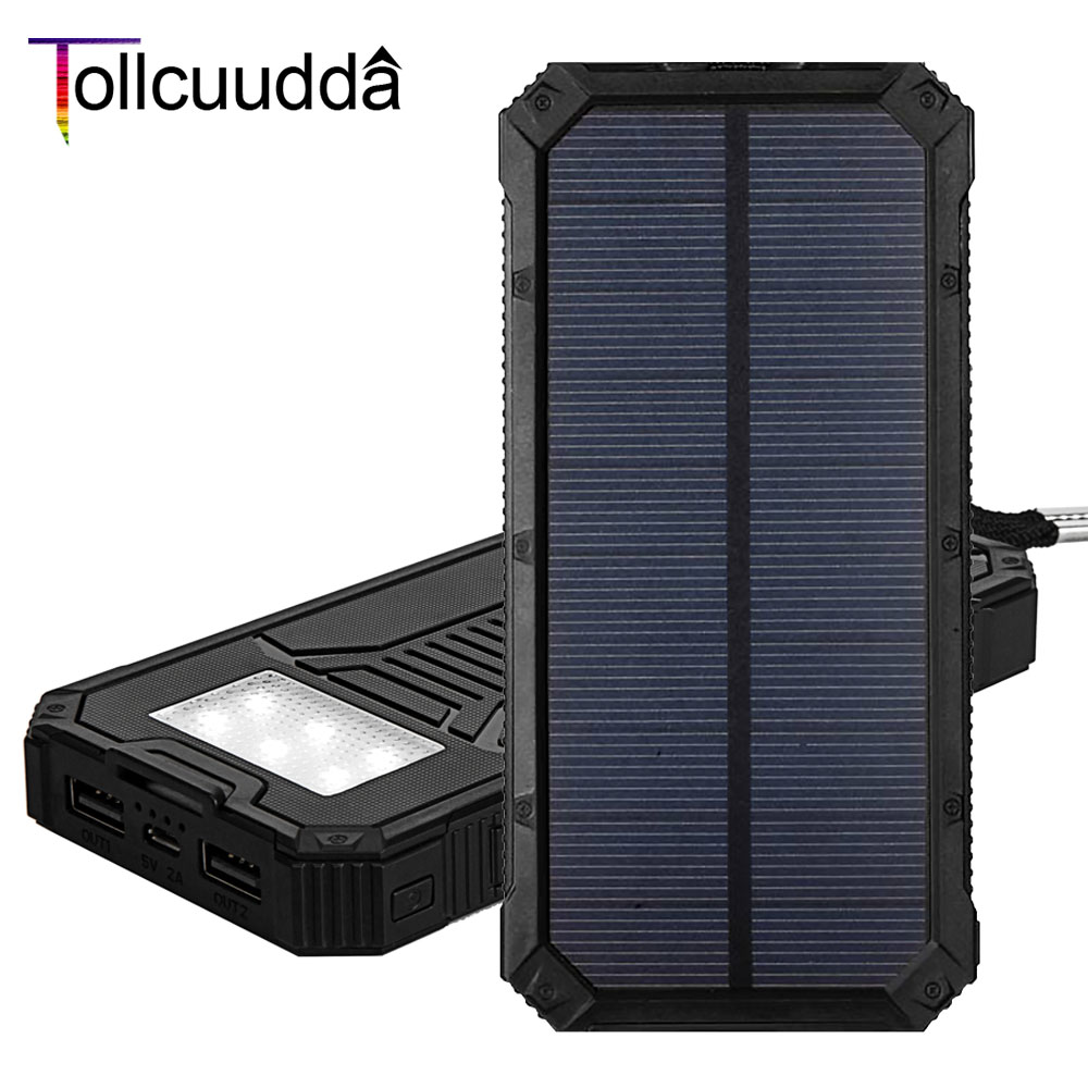 Tollcuudda 2 unids poverbank para iphone banco de la energía solar cargador de b