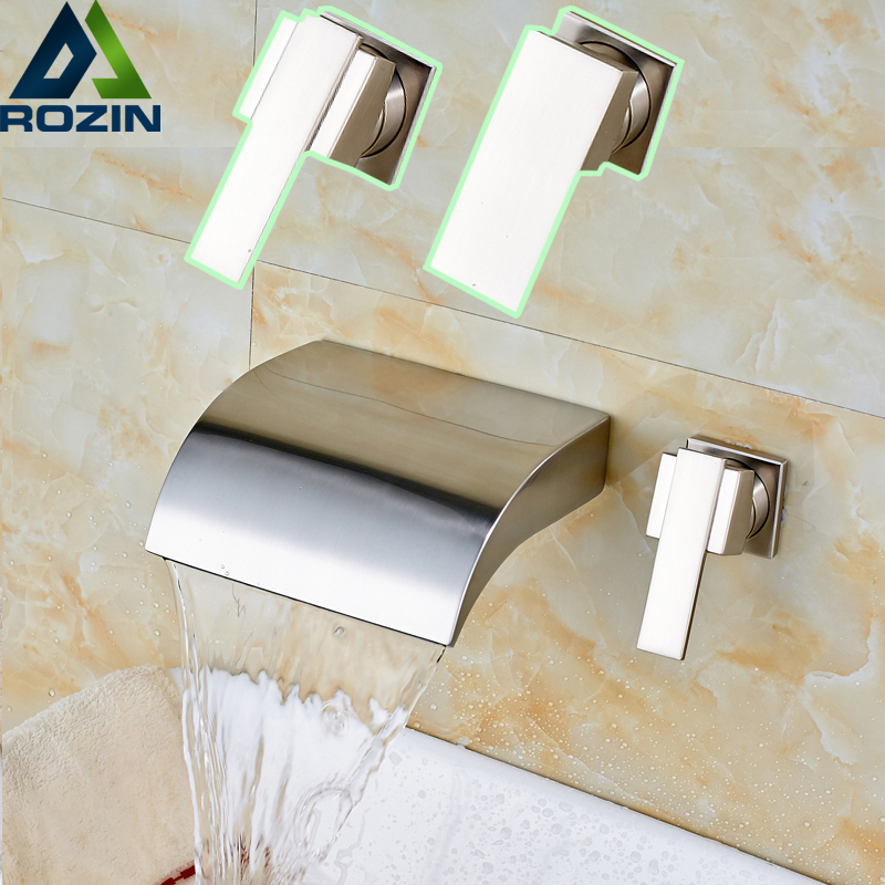 Modern Brushed Nickel Bathroom Sink Faucet Single Handle Wall Mount Basin Faucet Waterfall Taps idei