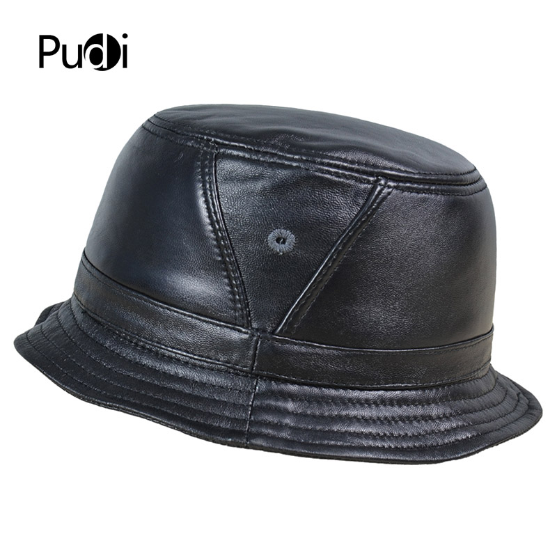 Detalle Comentarios Preguntas sobre Pudi HL195 hombres cuero de oveja real  cubo sombreros mujeres pesca Flap sombrero gorros tracker caza Caps en ... 2336e8344a6
