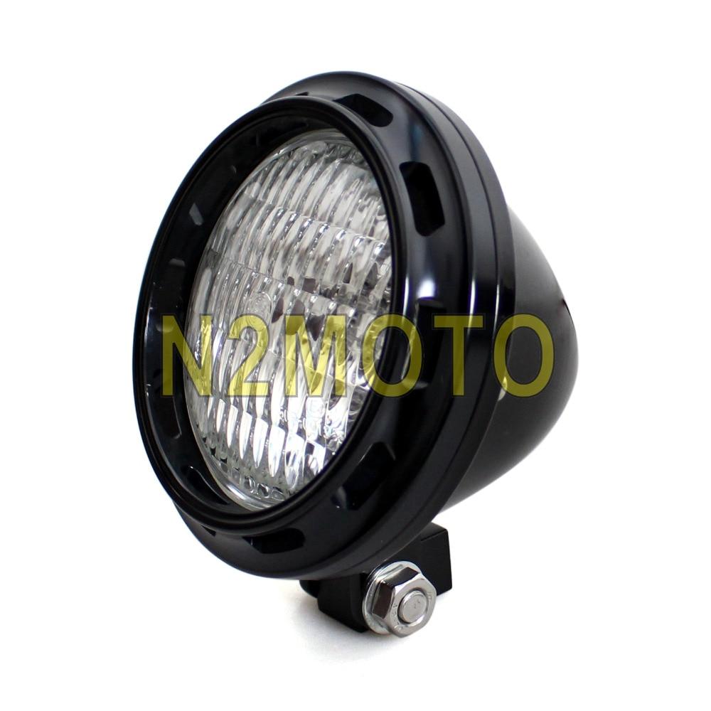 H4 Bulb Retro Black Billet Aluminum Motorcycle 4
