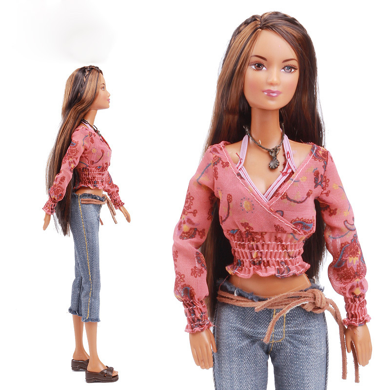 Original Long Brown Stright Hair Doll Cow Boy Style With Blouse Jeans Pants Shoes Outfit