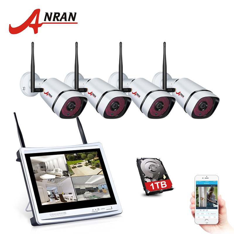ANRAN 12Inch Screen H.265 1080P CCTV Stystem Kit