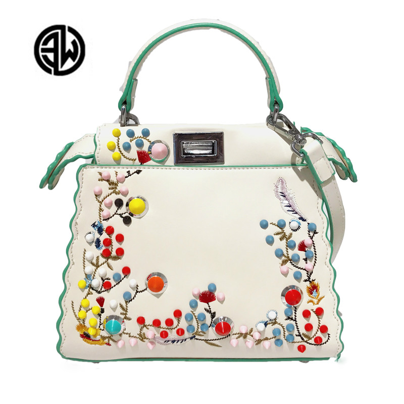 b4406145023f Summer Women Peekaboo Embroidery Famous Brand Designer Tote Handbag  Shoulder Bags Printing Rivet Luxury Bags Purse louis gg bag