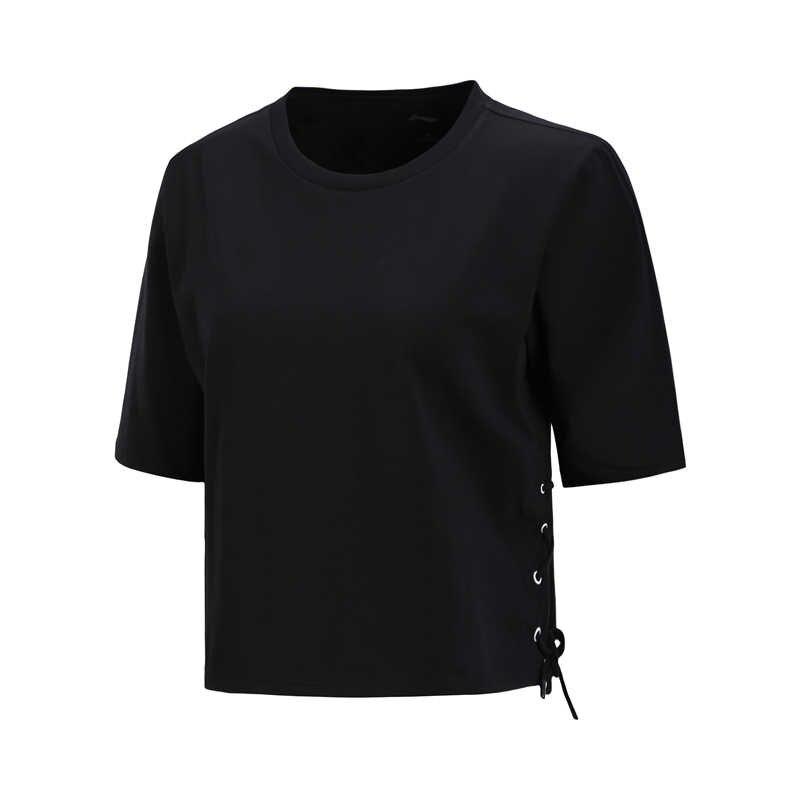 (Break Code) li-Ning Vrouwen De Trend T-shirts 92% Katoen 8% Spandex Ademende Voering Li Ning Loose Fit Sport Tops AHSN428 WTS1431