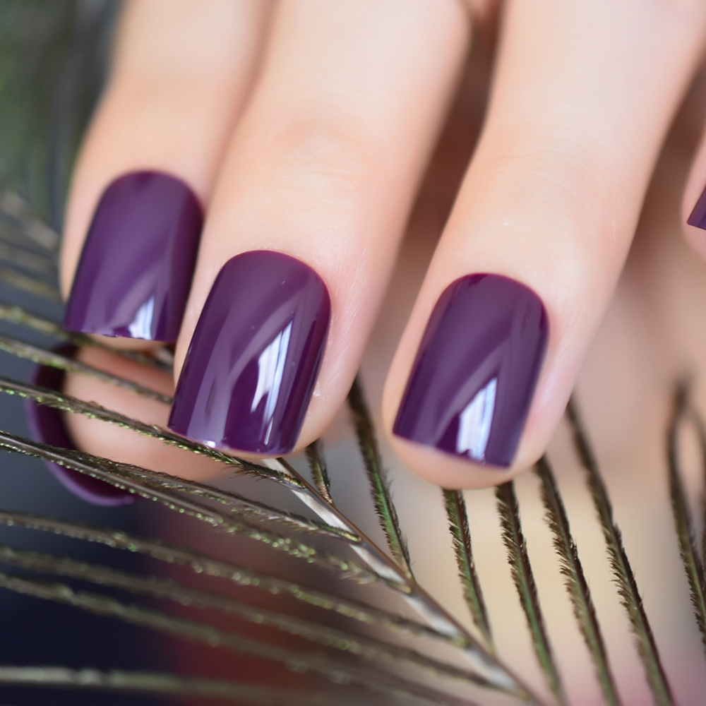 Aliexpress.com : Buy Dark Violet False Fake Nail Tips Deep ...
