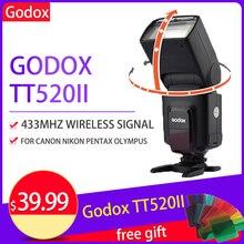 Godox TT520II Flash Speedlite Build in 433MHz Wireless Signal Color Filter for Canon Nikon Pentax Olympus DSLR Camera Flash