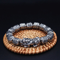 100% S999 Silver Tibetan Six Words Beads Bracelet Lucky Wealth Pixiu Bracelet Good Luck Thai Silver men women Bracelet Jewelry