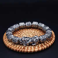 100% S999 Silber Tibetischen Sechs Worte Perlen Armband Glück Reichtum Pixiu Armband Viel Glück Thai Silber männer frauen Armband Schmuck