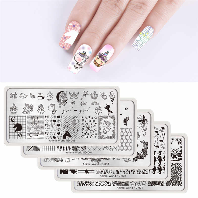 NICOLE DIARY Nail Stamping Plates Lace Flower Animal Pattern Nail Art Stamp Stamping Template Image Plate Stencil Nails Tool