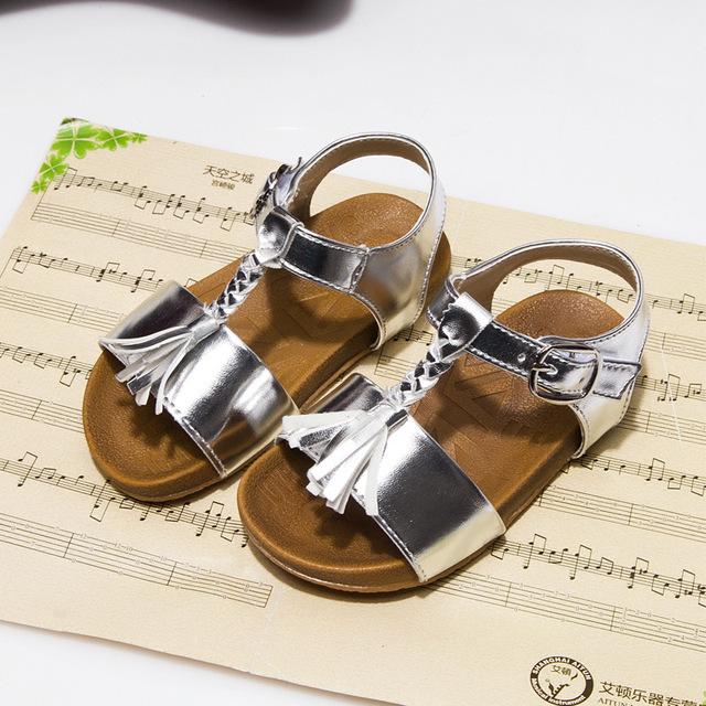 Sandálias de verão 2016 Sapatos Da Moda Quentes Meninas anos Bebê da Princesa das Crianças Praia Crianças Tessel T-alça Sandália Macia inferior