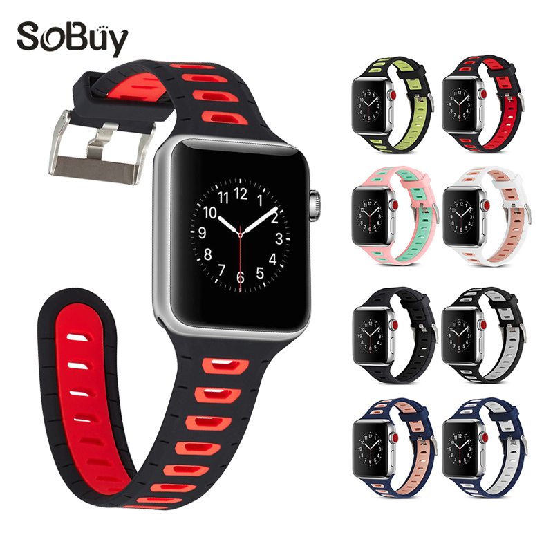 Lxsmart for Apple Watch 1/2/3 Sport Series 38mm band 42mm bands S1 Strap Silicone Wrist belt iwatch S2 Bracelet rubber watchband uyoung watchband for casio prg 130y prw 1500yj watch bands black silicone rubber strap climbing bracelet
