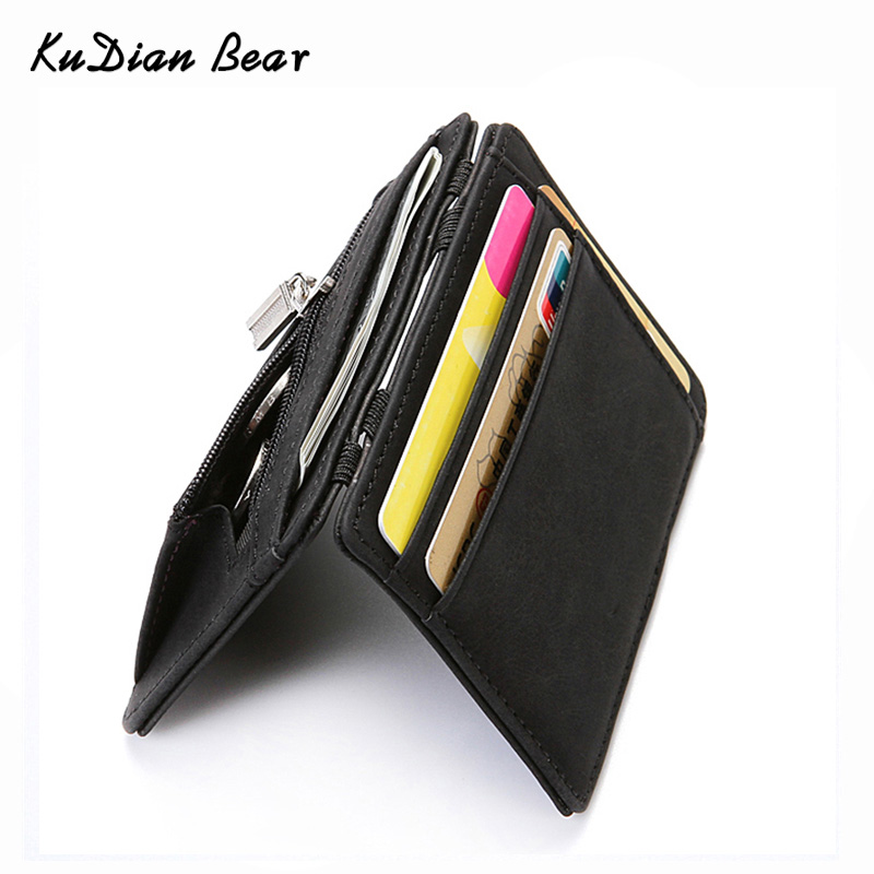 цена KUDIAN BEAR Nubuck Leather Men Wallet Magic Designer Male Wallets Small Purse Slim Card Holder Carteira Masculina BID223 PM49