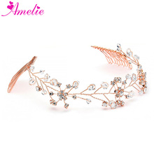 Rose Gold Crystal Bridal Hair Vine Blush Wedding Headpiece with Combs Ball Dancing Headdress Photo prop hair accessory(China)