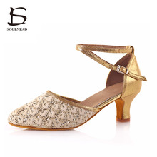 High Quality Women Latin Shoes Ballroom Tango Salsa Dance Shoes Soft Sole Mid Heeled Professional Indoor zapatos de baile Golden