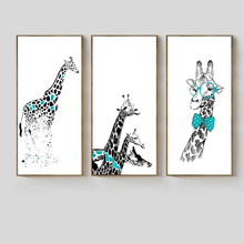 NEW Cartoon Animals Giraffe Nordic Poster Canvas Wall Art Print Oil Paintings Pop Pictures Home Decoration No Frame