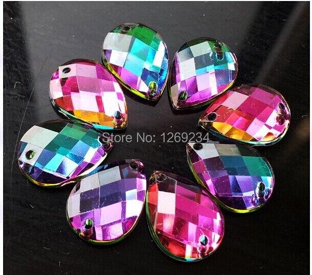 Драгоценный аксессуар свободные бусины форму капли Многоцветный 8*13 мм 200 шт. пришить arcyl Кристалл Rhinestone Flatback стразовая diamond
