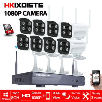 8CH ИК HD Домашней Безопасности Беспроводной NVR ip-камера системы 1080 P комплект видеонаблюдения Открытый Wi-Fi камеры видео NVR наблюдения комплект...