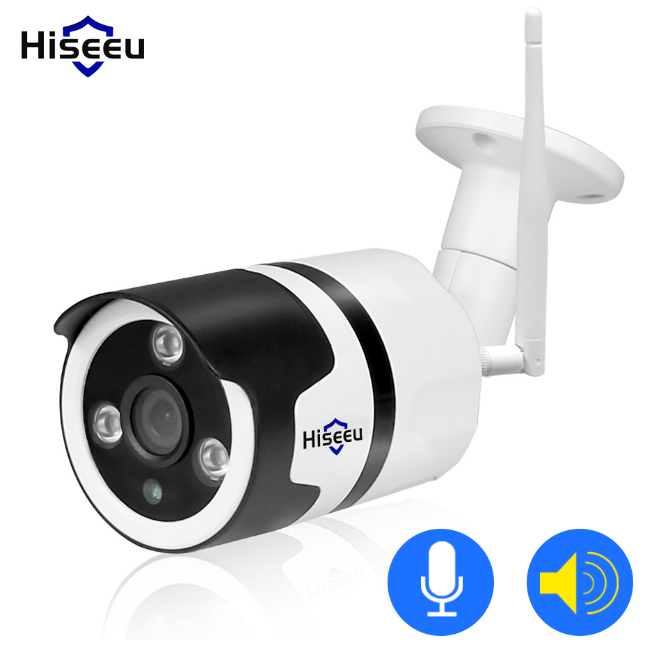 Hiseeu wifi outdoor ip-kamera 1080 p 720 p wasserdichte 2.0MP wireless security kamera metall zwei weg audio TF karte rekord P2P kugel