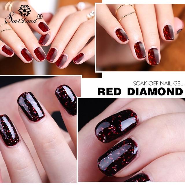 Saviland 1pcs Diamond Gel Nail Polish Soak Off Red Glitter Diamond ...
