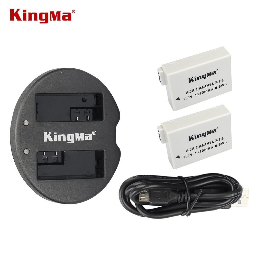 KingMa 2 pièces Caméra LP-E8 Piles (Pour Canon LP-E8 Remplacement) + USB Double Chargeur Pour appareil photo Canon T2i T3i EOS 550D 600D 650D