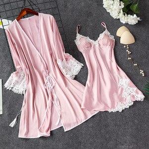 Image 3 - 2019 Indoor Clothing Women Sleepwear Sexy Femme Robe Gown Set Sleep Lounge Ladies Nightwear Bathrobe Nightdress With Chest Pads