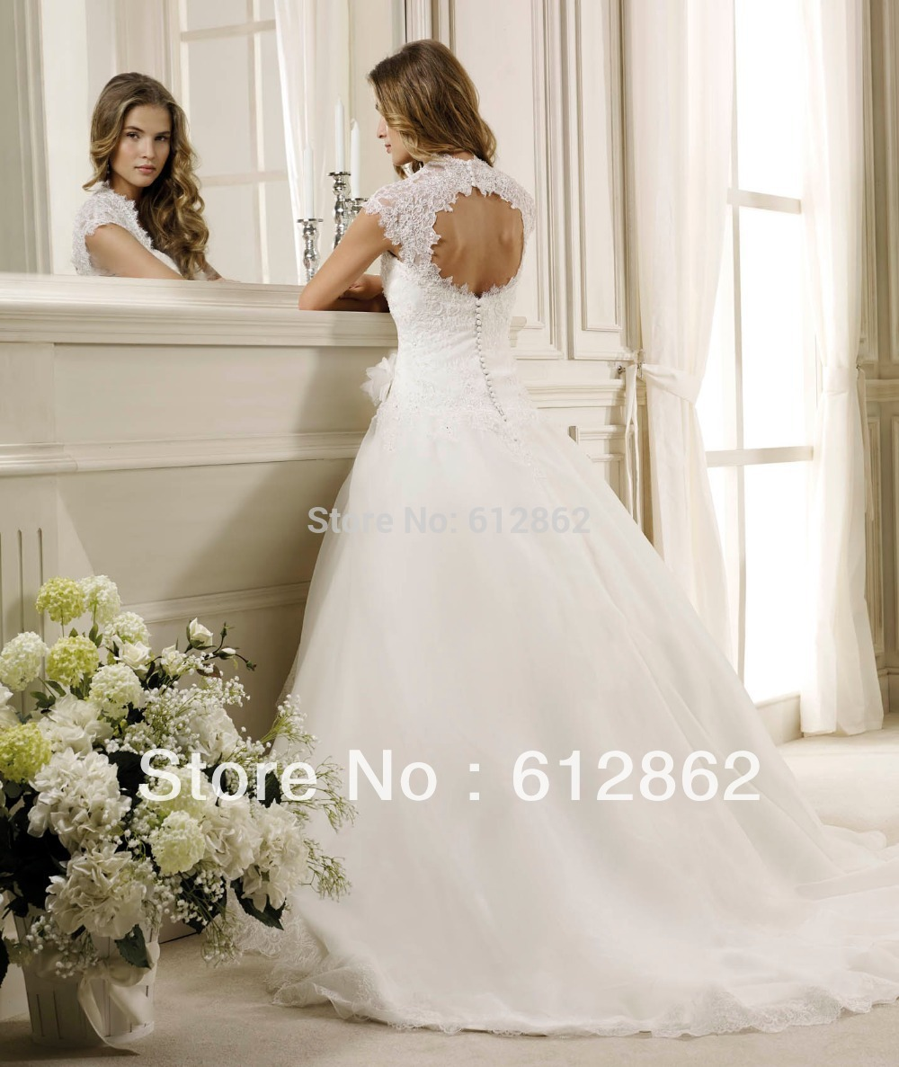 2017 Cap Sleeve Ball Gown Beaded Lace Wedding Dresses With Keyhole Back In From Weddings Events On Aliexpress