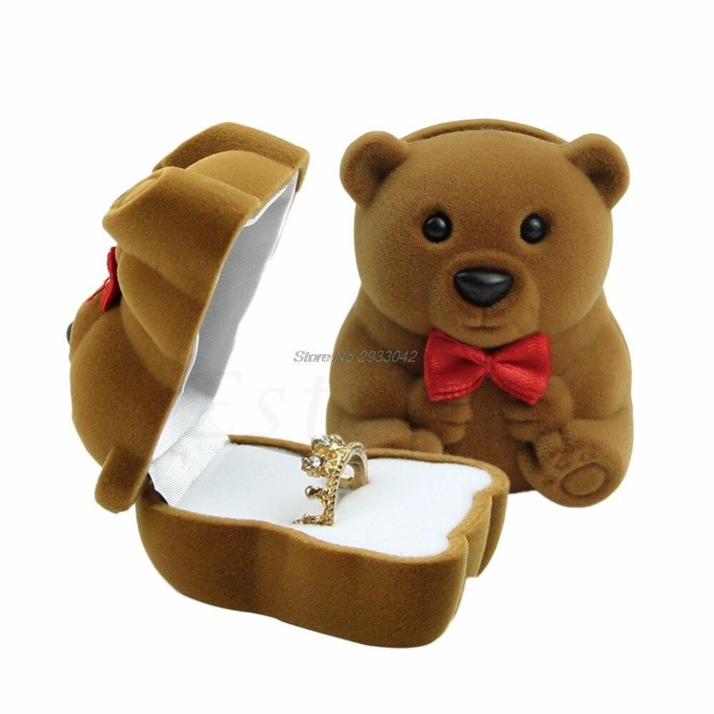 Free Shipping Velvet Bowknot Bear Ring Earring Bracelet Jewelry  Box Case Xmas Gift