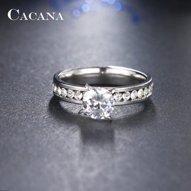 CACANA Titanium Stainless Steel Rings For Women Circle CZ Fashion Jewelry Wholesale NO.R174 3