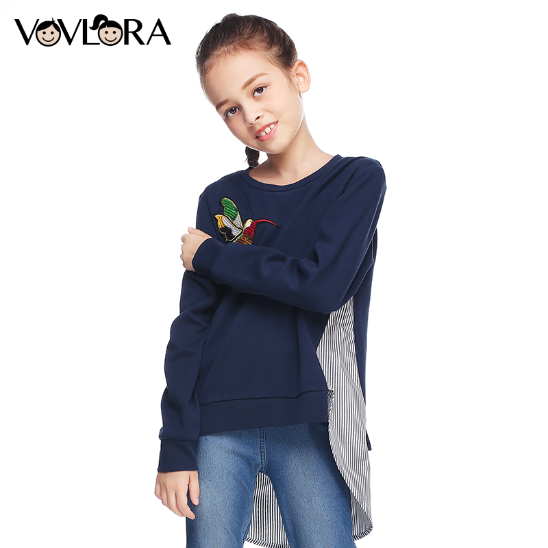 VOVLORA 2017 Girls kids long sleeve tops shirt blouse O-neck cotton shirt for girl fashion new autumn&winter baby girl clothes12 kids baby girl clothing set fashion clothes 2016 girls sweatshirt long sleeve shirt with o neck
