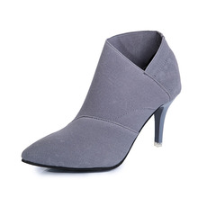 COZULMA Women Breathable Ankle Boots Shoes Female Slip-on High Heels Plus Size 34-41