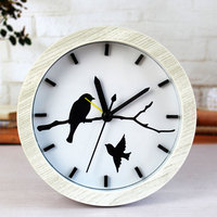 Wooden Board Pastoral Alarm Clock Mute Vintage Table Battery Clock Bird Tree Patterns Desk Home Decor