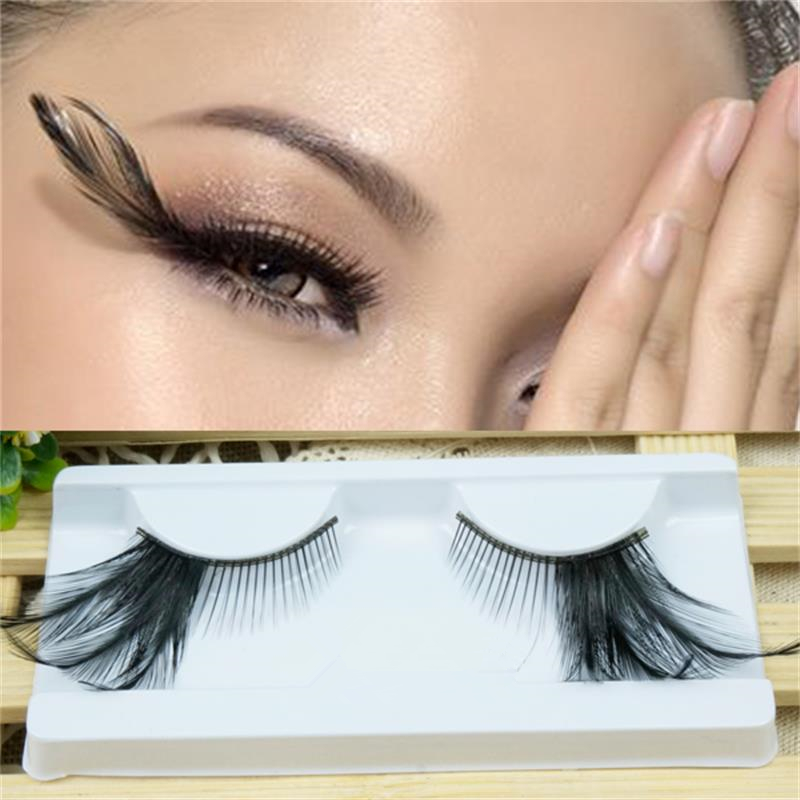 1 Pairs Black Feather Natural Long False Eyelashes Cross Winged Lengthened Exaggerated Stage False Eye Lashes Makeup ToolYM77