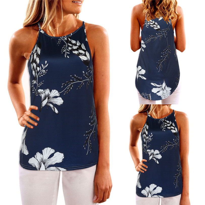Tank Top Women 2017 Summer Print Vest Sleeveless Shirt Blouse Casual Tank Tops T-Shirt Camisole Feminina Pink Plus Size May 23