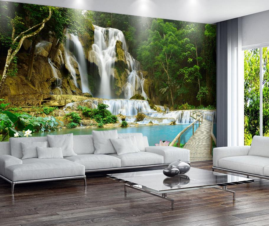 3d wall murals wallpaper waterfall 3d landscape living 3d for Wallpaper images for house walls