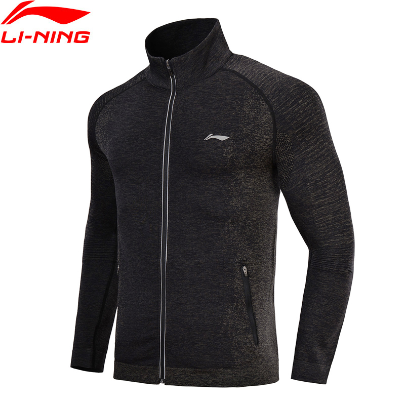 Li Ning Men Running Jacket Seamless Fitness Knit Track Top Comfort Sweater Slim Fit Jogger LiNing