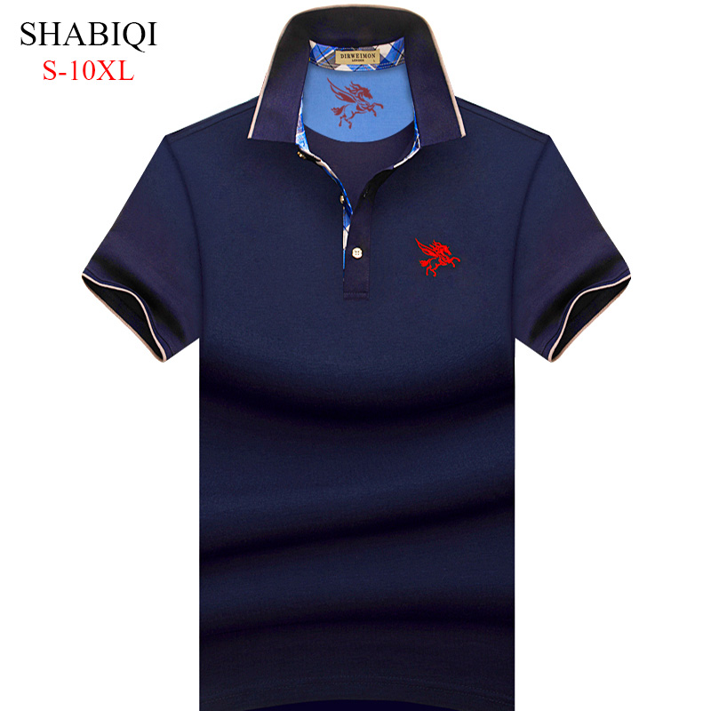 Big Man! S-10XL . 2019 NEW Men   Polo   Shirt Summer Short Sleeve   Polos   Shirt Mens Camisa   Polo   95%Cotto Baseball coat Pure color