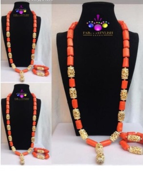 40 inches Big Real Coral Beads Bridal Necklace Set Fashion Men Coral Necklace Jewelry Set Groom African Jewelry Set ABH882