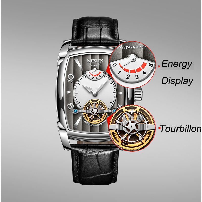 Nesun Tourbillion Automatic Mechanical Watch Skeleton Watch Men Luxury Brand Men's Watches Waterproof relogio masculino N9039 2-in Mechanical Watches from Watches    3