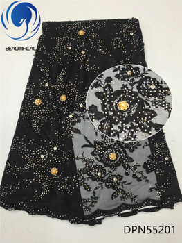 BEAUTIFICAL Black beaded lace fabric african french lace fabric with beads tulle lace flower pattern new arrival 5yards DPN552