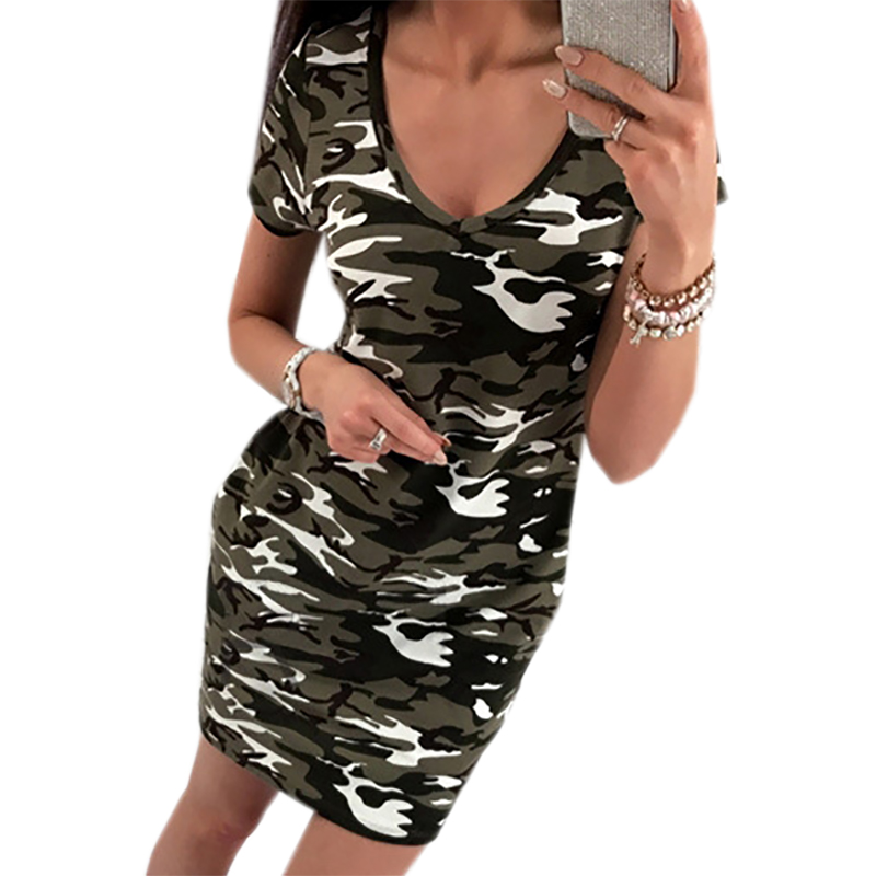 Camouflage Printed Dresses Short Sleeve Fashion Summer Dress 2018 V-neck Women Casual Dresses Bodycon Sundress GV755