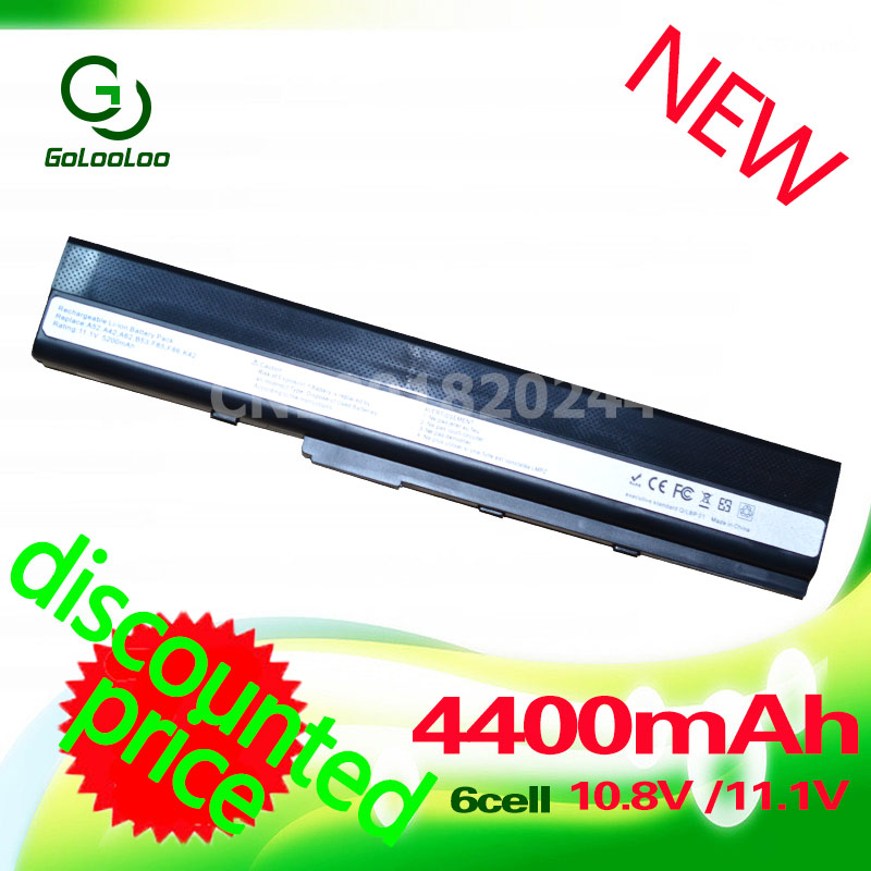 Golooloo 4400mah 11.1v Battery A32-K52 for Asus A41-K52 A42-K52 K52F X52J A52J A52F K52D K52DR K52J K52JC K52JE K52N 10.8V/11.1V k52 k52j k52jr k52jc k52dr x52f k52f x52j for asus usb board original dc power jack board 60 nxmdc1000 k52jr dc board