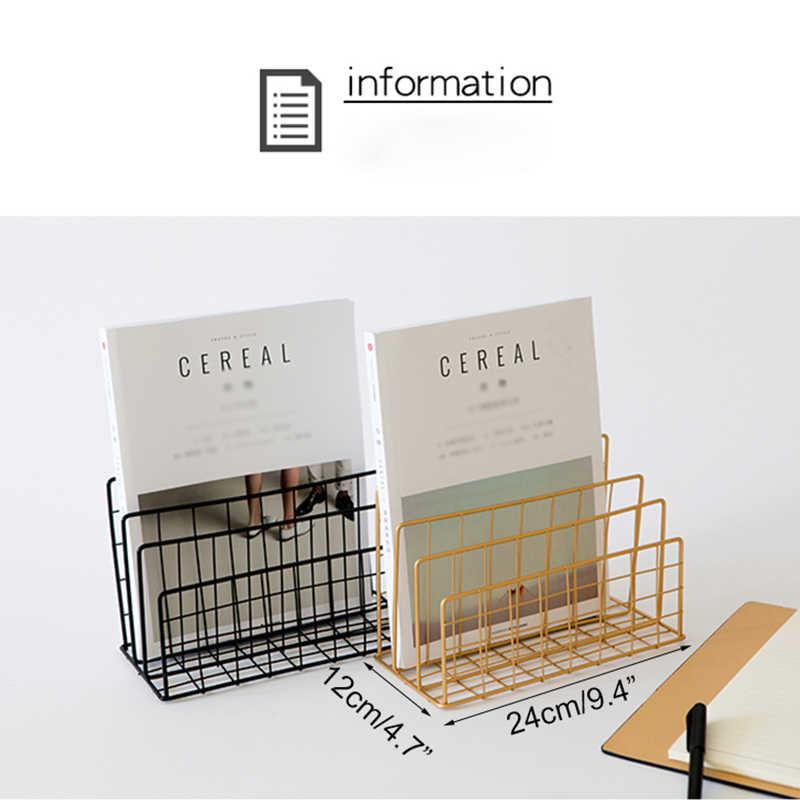 3 camadas Criativo Nordic Simples de Ferro Forjado Rack de Armazenamento de Desktop Estante Revista Documentos de Escritório Caixa De Armazenamento Racks