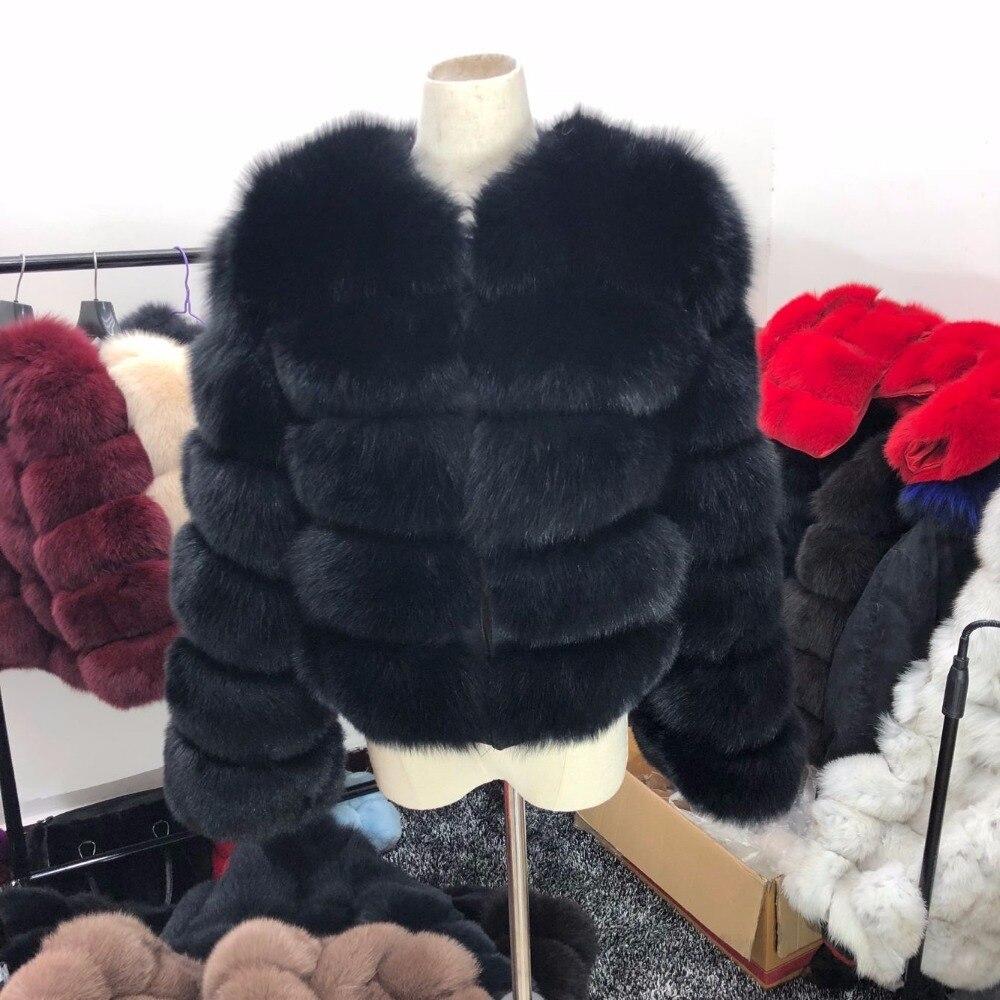 Naturel Black Fourrure Réel Fox Marque Longues Renard À Lady Noire Manteau Manches Chaud De Nouvelle Veste Fashion qwa45IUqx