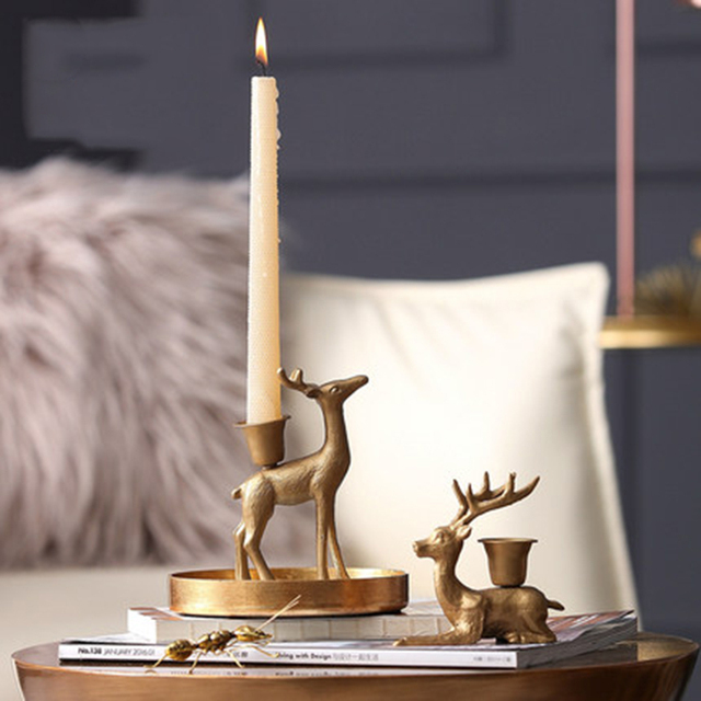 European Deer Candle Holders Wedding Candlestick Brass Table Candelabra Wedding Decoration Candelabros Home Decoration 50A0043